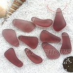 Cultured Sea Glass teardrop nugget Pendants <b>about 10-15x21-28mm</b> 37-Medium Amethyst freeform drops <b> top side drilled </b>per <b>10-pc-bag</b>
