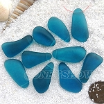 Cultured Sea Glass teardrop nugget Pendants <b>about 10-15x21-28mm</b> 82-Teal freeform drops <b> top side drilled </b>per <b>10-pc-bag</b>