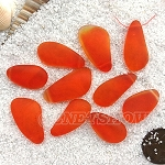 Cultured Sea Glass teardrop nugget Pendants <b>about 10-15x21-28mm</b> 83-Tangerine freeform drops <b> top side drilled </b>per <b>10-pc-bag</b>