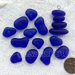 Cultured sea glass freeform regular center drilled nugget graduated stacking mix <b>14-22x11-14mm</b> 33-Royal Blue per <b>12-pc-bag</b>, quite unique focal design.