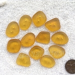 Cultured sea glass flat freeform two-hole clothing buttons  <b>18-22x15-17mm</b> 16-Desert Gold per <b>12-pc-bag</b>, possible use as very unique end piece for a bracelet or necklace.