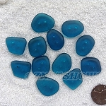 Cultured sea glass flat freeform two-hole clothing buttons <b>18-22x15-17mm</b> 82-Teal per <b>12-pc-bag</b>, possible use as very unique end piece for a bracelet or necklace.