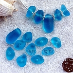 Cultured sea glass freeform large hole nugget <b>about 12-14x16-25mm</b> 30- Pacific Blue per <b>10-pc-bag</b>, very unique necklace center (focal) set
