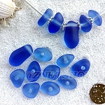 Cultured sea glass freeform large hole nugget <b>about 12-14x16-25mm</b> 31- Light Sapphire per <b>10-pc-bag</b>, very unique necklace center (focal) set