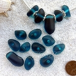 Cultured sea glass freeform large hole nugget <b>about 12-14x16-25mm</b> 82-Teal per  <b>10-pc-bag</b>, very unique necklace center (focal) set