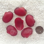 Cultured Sea Glass sea shell Pendants <b>31x22mm</b> 05-Cherry Red per <b>6-pc-bag</b>