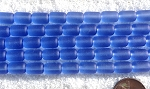 Cultured Sea Glass tube nugget Beads <b>10x6mm</b> 31-Light Sapphire per <b>5-str-hank(13-pc-str)</b>