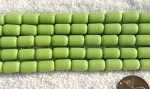 Cultured Sea Glass tube nugget Beads <b>10x6mm</b> 158-Opaque spring green color per <b>5-str-hank(13-pc-str)</b>
