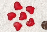 Cultured Sea Glass Small Puffed Fancy Heart Pendants <b>18x18mm</b> 05-Cherry Red per <b>6-pc-bag</b>