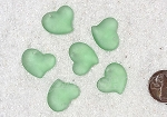Cultured Sea Glass Small Puffed Fancy Heart Pendants <b>18x18mm</b> 23-Peridot per <b>6-pc-bag</b>