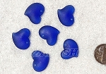 Cultured Sea Glass Small Puffed Fancy Heart Pendants <b>18x18mm</b> 33-Royal Blue per <b>6-pc-bag</b>