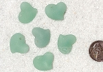 Cultured Sea Glass Small Puffed Fancy Heart Pendants <b>18x18mm</b> 892-Opaque Seafoam Green per <b>6-pc-bag</b>