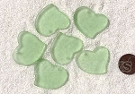 Cultured Sea Glass Large Fancy Flat Heart Pendants <b>30x30mm</b> 23-Peridot per <b>6-pc-bag</b>