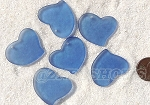 Cultured Sea Glass Large Fancy Flat Heart Pendants <b>30x30mm</b> 31-Light Sapphire per <b>6-pc-bag</b>