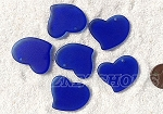 Cultured Sea Glass Large Fancy Flat Heart Pendants <b>30x30mm</b> 33-Royal Blue per <b>6-pc-bag</b>