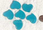 Cultured Sea Glass Large Fancy Flat Heart Pendants <b>30x30mm</b> 82-Teal per <b>6-pc-bag</b>