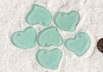 Cultured Sea Glass Large Fancy Flat Heart Pendants <b>30x30mm</b> 88-Light Aqua `Coke` bottle Seafoam per <b>6-pc-bag</b>