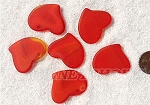 Cultured Sea Glass Large Fancy Flat Heart Pendants <b>30x30mm</b> 83-Tangerine per <b>6-pc-bag</b>