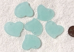 Cultured Sea Glass Large Fancy Flat Heart Pendants <b>30x30mm</b> 881-Opaque Seafoam per <b>6-pc-bag</b>
