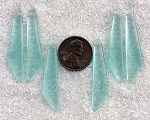 Cultured Sea Glass elongated puffed fancy Pendants <b>9x40mm</b> 88-Light Aqua `Coke` bottle Seafoam per <b>6-pc-bag</b>