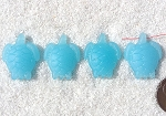Cultured Sea Glass Small Sea Turtle charms <b>23x18mm</b> 46-Opaque Blue Opal <b> top side drilled </b> per <b>4-pc-bag</b>