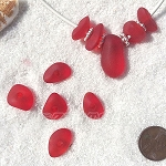 Cultured Sea Glass freeform large hole nugget Beads <b>about 12-14x16-25mm</b> 05-Cherry Red per <b>10-pc-bag</b> very unique necklace center (focal) set
