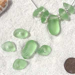 Cultured Sea Glass freeform large hole nugget Beads <b>about 12-14x16-25mm</b> 23-Peridot per <b>10-pc-bag</b> very unique necklace center (focal) set