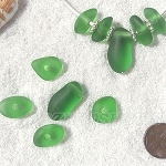 Cultured Sea Glass freeform large hole nugget Beads <b>about 12-14x16-25mm</b> 25-Shamrock per <b>10-pc-bag</b> very unique necklace center (focal) set