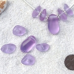 Cultured Sea Glass freeform large hole nugget Beads <b>about 12-14x16-25mm</b> 39-Periwinkle Changes per <b>10-pc-bag</b> very unique necklace center (focal) set