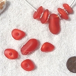 Cultured Sea Glass freeform large hole nugget Beads <b>about 12-14x16-25mm</b> 83-Tangerine per <b>10-pc-bag</b> very unique necklace center (focal) set