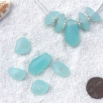 Cultured Sea Glass freeform large hole nugget Beads <b>about 12-14x16-25mm</b> 881-Opaque Seafoam per <b>10-pc-bag</b> very unique necklace center (focal) set