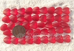 Cultured Sea Glass Heart Puffed Beads <b>11x12mm</b> 05-Cherry Red per <b>5-str-hank(9-pc-str) or 45-pc-bag</b>