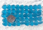 Cultured Sea Glass Heart Puffed Beads <b>11x12mm</b> 30-Pacific Blue per <b>5-str-hank(9-pc-str)</b>