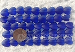 Cultured Sea Glass Heart Puffed Beads <b>11x12mm</b> 33-Royal Blue per <b>5-str-hank(9-pc-str)</b>