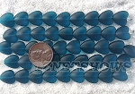 Cultured Sea Glass Heart Puffed Beads <b>11x12mm</b> 82-Teal per <b>5-str-hank(9-pc-str)</b>