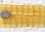 Cultured Sea Glass Square Puffed Beads <b>12x12mm</b> 16-Desert Gold per <b>5-str-hank(9-pc-str)</b>