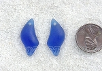 Cultured Sea Glass Wave Drop Earring Set Pendants <b>25x12mm</b> 33-Royal Blue per <b>1-pair-bag</b>