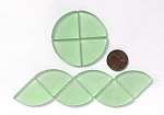 Cultured Sea Glass Cabachons and Art Tiles Quadrant Puffed <b>25mm</b> 23-Peridot per <b>10-pc-bag</b>