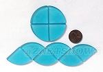 Cultured Sea Glass Cabachons and Art Tiles Quadrant Puffed <b>25mm</b> 30-Pacific Blue per <b>10-pc-bag</b>