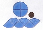 Cultured Sea Glass Cabachons and Art Tiles Quadrant Puffed <b>25mm</b> 31-Light Sapphire per <b>10-pc-bag</b>