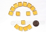 Cultured Sea Glass Cabachons and Art Tiles Square Puffed <b>12mm</b> 16-Desert Gold per <b>15-pc-bag</b>