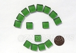 Cultured Sea Glass Cabachons and Art Tiles Square Puffed <b>12mm</b> 25-Shamrock per <b>15-pc-bag</b>