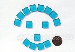 Cultured Sea Glass Cabachons and Art Tiles Square Puffed <b>12mm</b> 30-Pacific Blue per <b>15-pc-bag</b>