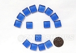 Cultured Sea Glass Cabachons and Art Tiles Square Puffed <b>12mm</b> 31-Light Sapphire per <b>15-pc-bag</b>