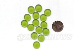 Cultured Sea Glass Cabachons and Art Tiles Coin Puffed <b>12mm</b> 22-Olive per <b>15-pc-bag</b>