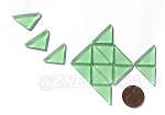 Cultured Sea Glass Cabachons and Art Tiles Triangle Puffed <b>25x12mm</b> 23-Peridot per <b>15-pc-bag</b>