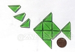 Cultured Sea Glass Cabachons and Art Tiles Triangle Puffed <b>25x12mm</b> 25-Shamrock per <b>15-pc-bag</b>