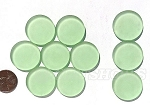 Cultured Sea Glass Cabachons and Art Tiles Coin Puffed <b>25mm</b> 23-Peridot per <b>10-pc-bag</b>