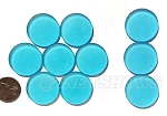 Cultured Sea Glass Cabachons and Art Tiles Coin Puffed <b>25mm</b> 30-Pacific Blue per <b>10-pc-bag</b>
