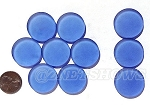 Cultured Sea Glass Cabachons and Art Tiles Coin Puffed <b>25mm</b> 31-Light Sapphire per <b>10-pc-bag</b>